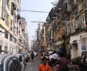 Our street, 38th Street, in Downtown Yangon